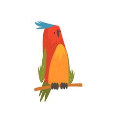 cute bird sitting on perch funny birdie cartoon vector image