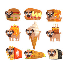 Cute funny pug dog character as fast food vector