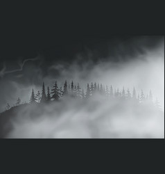 dark spooky realistic halloween forest on hill vector image