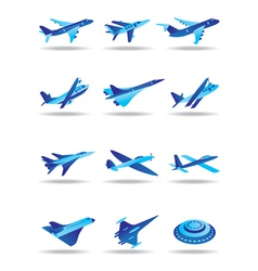 Different airplanes in flight icons set vector