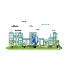 Doodle building urban architecture and air balloon vector