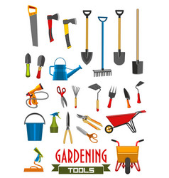 Farm gardening tools isolated icons vector
