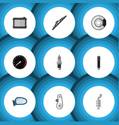 Flat icon auto set of combustion metal tachometr vector