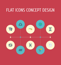 flat icons horoscope virgin fishes and other vector image
