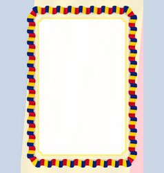 Frame and border of ribbon with romania flag vector