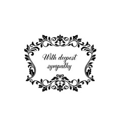 Funeral frame or obituary floral wreath rip card vector