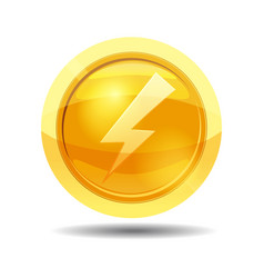 game coin with lightning game interface gold vector image