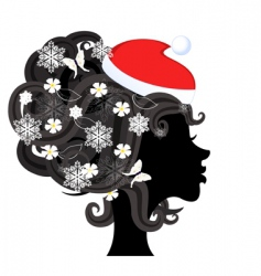 girl in Santa profile vector image