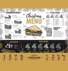 hand drawing christmas holiday menu design vector image