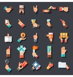 Hands Symbols Accessories Icons Set Flat Design vector