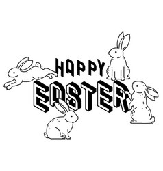 happy easter with cute bunny rabbits line art vect vector image