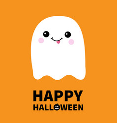 happy halloween flying ghost spirit showing vector image