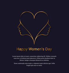 happy womens day card with dark background vector image
