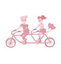 happy young couple riding tandem bicycle vector image
