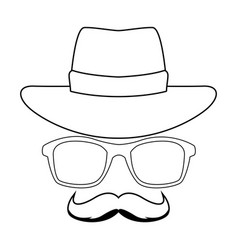 Hat glasses and moustache black and white vector