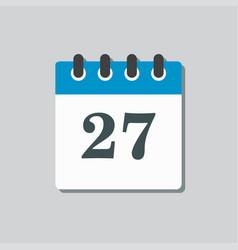 Icon calendar page day template calendar date 27 vector