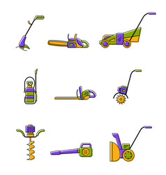 Icons of gardening power tools vector