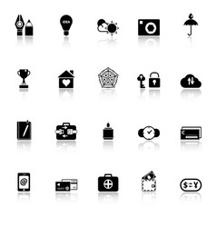 Insurance sign icons with reflect on white vector image