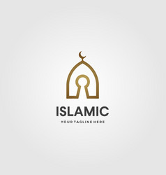 Islamic dome logo key line art design vector