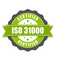 iso 31000 standard certificate badge - risk manage vector image
