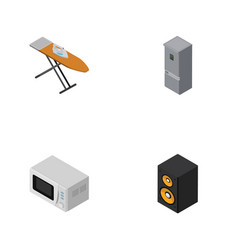 isometric technology set of music box microwave vector image