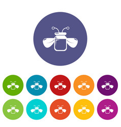 Jar bee honey icons set color vector