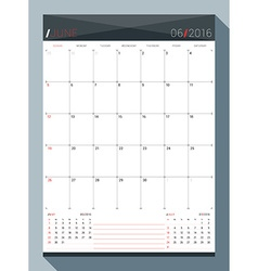 June 2016 Design Print Template Monthly Calendar vector