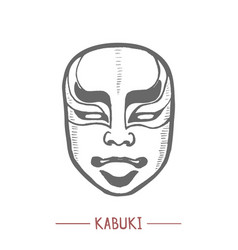 Kabuki mask in hand drawn style vector