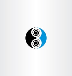 Logo 3 three number symbol icon blue black vector