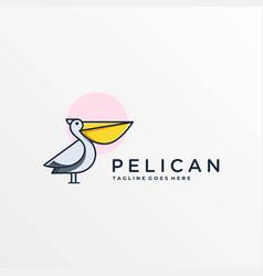 logo pelican simple mascot cartoon style vector image
