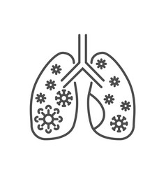 Lungs infection related thin line icon vector