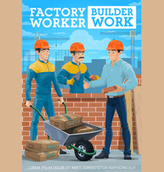 masons or bricklayers with brick wall and trowels vector image
