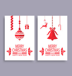 merry christmas and happy new year set banners vector image
