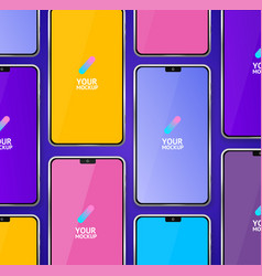 mobile phones mockups seamless pattern background vector image