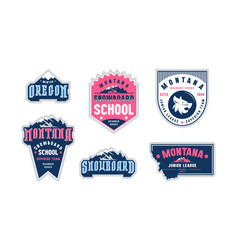montana and oregon snowboarding emblem set vector image