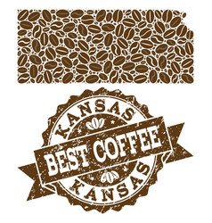 Mosaic map of kansas state with coffee beans and vector