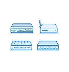 Network router icons vector image
