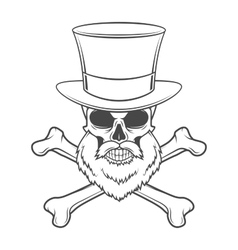 Outlaw skull with beard high hat and cross bones vector