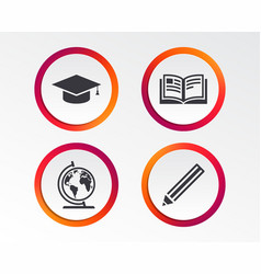 pencil and open book signs graduation cap icon vector image