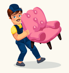 Porter carrying pink arm-chair colorful poster vector