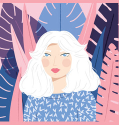 portrait a girl with white hair with patterned vector image