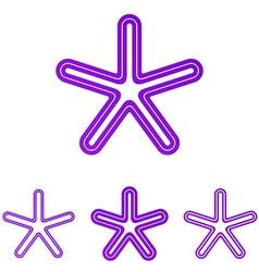 Purple line star logo design set vector