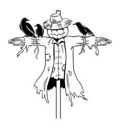 Scarecrow coloring book vector