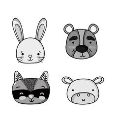 set cute animal patches design vector image