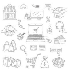 set hand drawn e-commerce icons set vector image