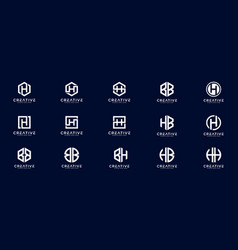 set initial letter hhbbb and bh logo design vector image