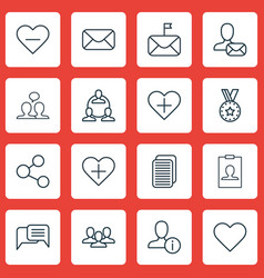 Set of 16 social network icons includes identity vector