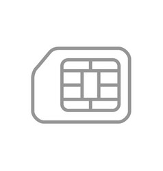 sim card line icon mobile slot phone chip symbol vector image