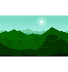 Slhouette of green mountain and sun vector image