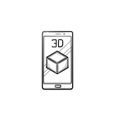 smartphone with 3d cube hand drawn outline doodle vector image